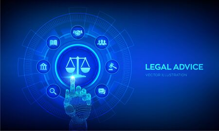 Labor law, Lawyer, Attorney at law, Legal advice concept on virtual screen. Internet law and cyberlaw as digital legal services or online lawyer advice. Robotic hand touching digital interface. Vector. Illustration