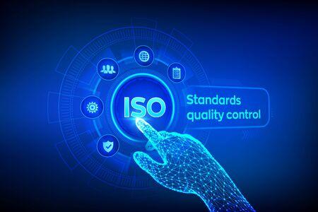 ISO-Standards, Qualitätssicherung, Garantie, Geschäftstechnologiekonzept. Servicekonzept für die ISO-Standardisierungszertifizierung. Roboterhand, die digitale Schnittstelle berührt. Vektor-Illustration