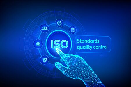 ISO standards quality control assurance warranty business technology concept. ISO standardization certification industry service concept. Robotic hand touching digital interface. Vector illustration