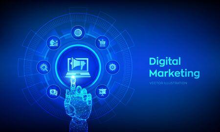 DIgital marketing technology concept on virtual screen. Internet. Online. Search Engine Optimisation. SEO. SMM. Advertising. Robotic hand touching digital interface. Vector illustration