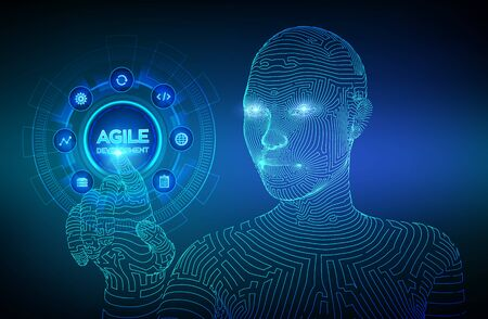 Agile software development methodology concept on virtual screen. Digital technology, big data concept. Flexible developing process. Wireframed cyborg hand touching digital interface. Vector. EPS 10
