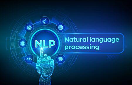 NLP. Cognitive Computing-Technologiekonzept für die Verarbeitung natürlicher Sprache auf dem virtuellen Bildschirm. Wissenschaftskonzept für natürliche Sprache. Roboterhand, die digitale Schnittstelle berührt. Vektor-Illustration