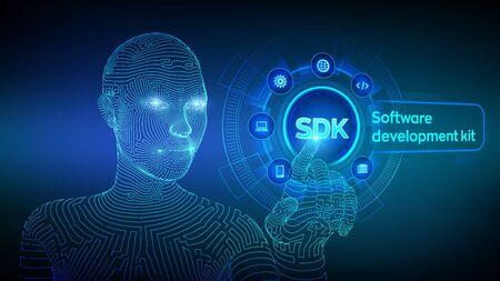 SDK. Software development kit programming language technology concept on virtual screen. Technology Concept. Wireframed cyborg hand touching digital interface. AI. Vector illustration
