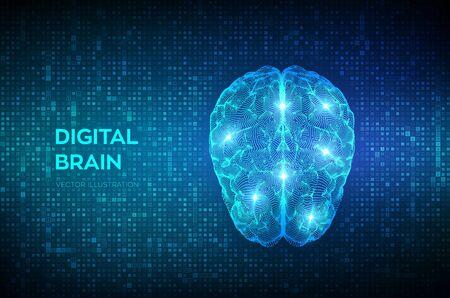 Brain. Digital brain on streaming matrix digital binary code background. 3D Science and Technology concept. Neural network. IQ testing, artificial intelligence virtual emulation. Vector illustration