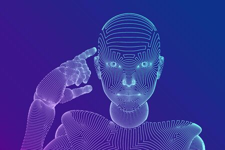 Abstract wireframe female cyborg or robot holds a finger near the head and thinks or computes using her artificial intelligence. AI and Machine learning technology concept. Vector illustration