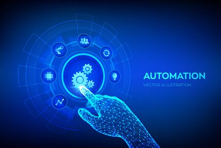 Automation Software. IOT and Automation concept as an innovation, improving productivity in technology and business processes. Robotic hand touching digital interface. Vector illustration