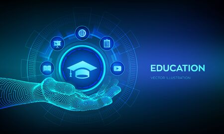 Education icon in hand. Innovative online e-learning and internet technology concept. Webinar, knowledge, online training courses. Skill development. Vector illustration