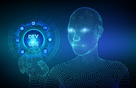 Devops. Agile development and optimisation concept on virtual screen. Software engineering. Software development practices methodology. Wireframed cyborg hand touching digital interface. EPS 10