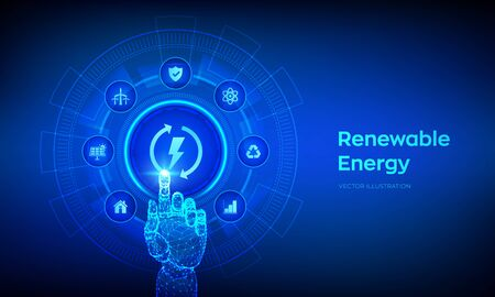 Renewable energy technology concept on virtual screen. Energy sources for renewable, sustainable development. Robotic hand touching digital interface. Vector illustration