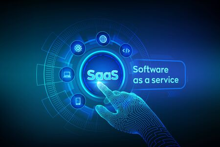 SaaS. Software as a service. Internet and technology concept on virtual screen. Development Concept. SAAS Computing IOT Industry. Robotic hand touching digital interface. Vector illustration