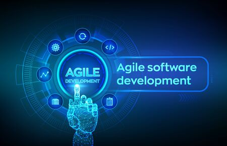 Agile software development methodology concept on virtual screen. Digital technology, big data concept. Flexible developing process. Robotic hand touching digital interface. Vector illustration