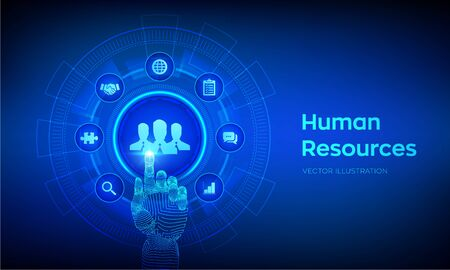 Human Resources. HR management, recruitment, employment, headhunting business concept. Human social network and leadership. Robotic hand touching digital interface. Vector illustration 向量圖像