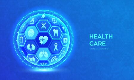 Health care and medical services concept. Emergency service. Healthcare diagnosis and treatment. Medical care. Abstract 3D sphere or globe with surface of hexagons with icons. Vector illustration