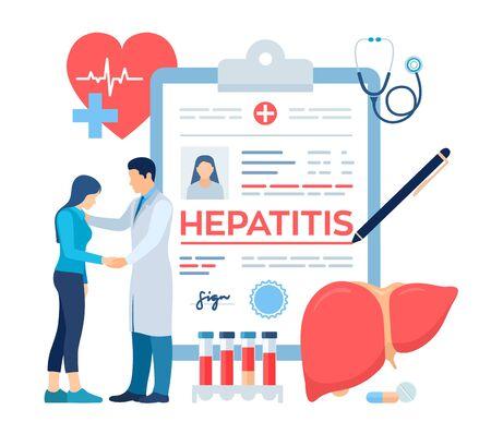 Diagnostic médical - Hépatite. Concept d'hépatite A, B, C, D, cirrhose, journée mondiale de l'hépatite. Médecin prenant soin du patient. Sensibilisation au cancer du foie. Traiter le foie malade. Illustration vectorielle
