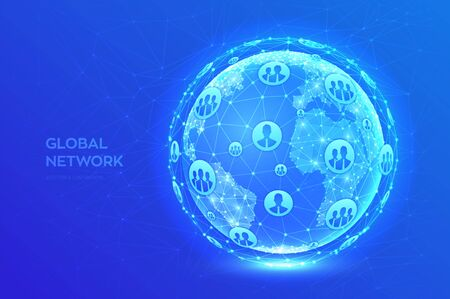 Global network connection. Earth globe illustration. Abstract polygonal planet. Low poly design. Concept of global business. Blue futuristic internet connection background. Vector Illustration