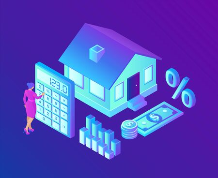 Mortgage concept. House loan or money investment to real estate. Property money investment contract. Buying Home. Woman calculates home mortgage rate. Isometric vector illustration with characters