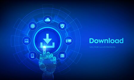 Download Data Storage. Cloud download. Install symbol. Robotic hand touching digital interface. Business technology network internet concept. Vector illustration