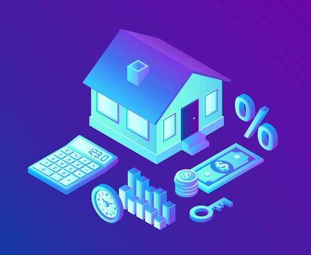 Mortgage concept. House loan or money investment to real estate. Property money investment contract. Buying Home. Calculation home mortgage rate. 3D isometric vector illustration