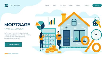 Mortgage concept. House loan or money investment to real estate. Property money investment contract. Buying Home. Man and woman calculates home mortgage rate. Vector illustration with characters