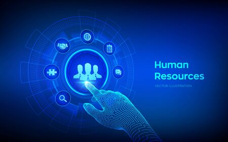 Human Resources. HR management, recruitment, employment, headhunting business concept. Human social network and leadership. Robotic hand touching digital interface. Vector illustration Illustration