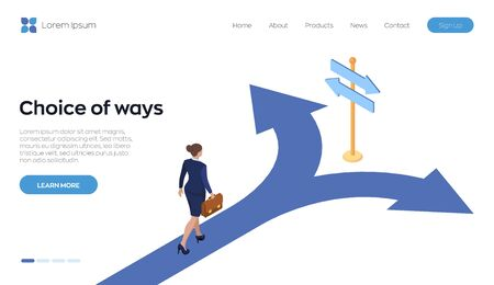 Choice process. Direction choose options, solution, decision. A businesswoman with a briefcase in hand is walking along the road to a crossroads. Business concept. Isometric vector illustration