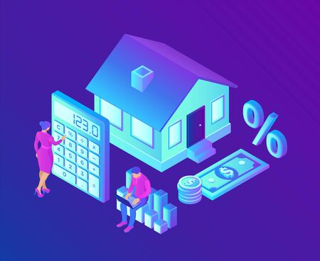 Mortgage concept. House loan or money investment to real estate. Property money investment contract. Buying Home. Man and woman calculates home mortgage rate. Isometric vector with characters Vector Illustratie