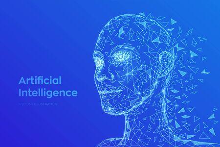 AI. Concetto di intelligenza artificiale. Volto umano digitale astratto basso poli. Testa umana nell'interpretazione del computer digitale del robot. Concetto di robotica. Concetto di testa poligonale 3D. Illustrazione vettoriale