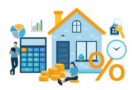 Hypothekenkonzept. Wohnungsbaudarlehen oder Geldanlage in Immobilien. Investitionsvertrag für Immobiliengeld. Familie kauft ein Haus. Der Mensch berechnet den Hypothekenzins für das Haus. Vektorillustration mit Zeichen