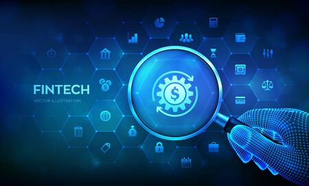 Fintech. Lupe und Finanztechnologie-Infografik. Fintech-Konzept mit Lupe in der Drahtmodellhand und Symbolen. Business-Investment-Banking-Zahlungstechnologiekonzept. Vektor-Illustration