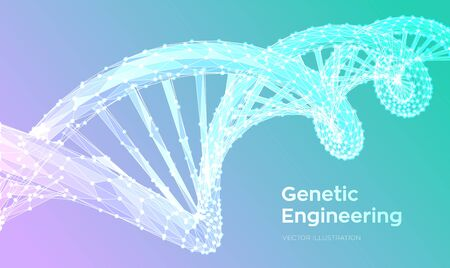 DNA sequence. Abstract 3d polygonal wireframe DNA molecules structure mesh. DNA code editable template. Science and Technology concept. 3d Low Poly Vector illustration