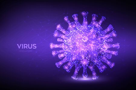 Coronavirus 2019-nCov novel coronavirus low poly abstract concept. Microscopic view of virus cell close up. Dangerous asian ncov corona virus, SARS pandemic risk. 3D polygonal vector illustration