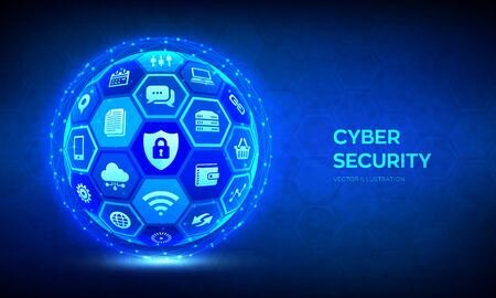 Cyber security. Information protect and or safe concept. Abstract 3D sphere or globe with surface of hexagons with icons illustrates cyber data security or network security idea. Vector illustration Vecteurs