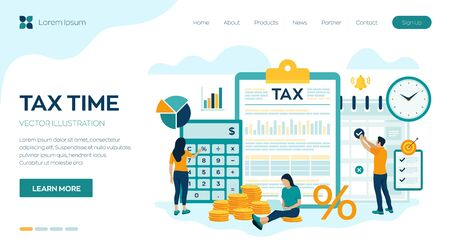 Concept tax payment. Data analysis, paperwork, financial research report and calculation of tax return. Payment of debt. Government, state taxes. Vector illustration in flat style with characters Иллюстрация