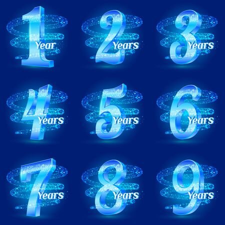 Golden anniversary numbers set. 3d logo celebration with glittering spiral star dust trail sparkling particles. Anniversary modern design elements. Vector Illustration Ilustração