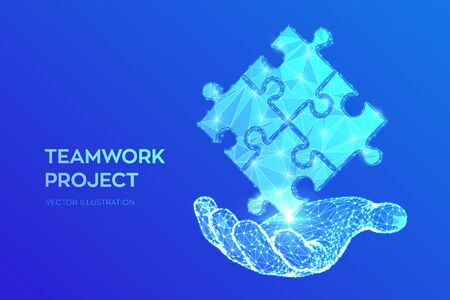 Teamwork. Puzzle elements in hand. Team metaphor. Symbol of teamwork, cooperation, partnership, association and connection. Polygonal puzzle pieces. Business concept of connecting. Vector Illustration