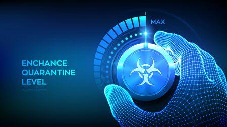 Quarantine levels knob button. Increasing Coronavirus 2019-nCoV quarantine level. Hand turning a biohazard test knob to the maximum position. Stop COVID-19 pandemic concept. Vector illustration