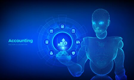 Accounting. Accountancy service. Banking Calculation. Financial analysis, investments and business consulting concept. Online banking. Wireframed cyborg hand touching digital interface. Vector
