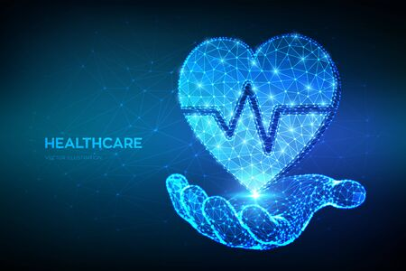 Healthcare, medicine and cardiology concept. Heart icon with heartbeat line in hand. Abstract low polygonal heart with ecg line - symbol of medical care, emergency service. Vector illustration
