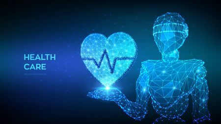 Healthcare, medicine and cardiology concept. Abstract 3d low polygonal robot holding heart icon with heartbeat line in hand. Heart with ecg line - symbol of medical care. Vector illustration