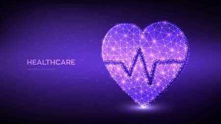 Healthcare, medicine and and cardiology concept. Heartbeat line with shape of heart icon. Abstract low polygonal heart with ecg line - symbol of medicine, medical care people, emergency service network.