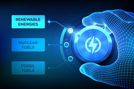 Energy industry sectors. Wireframe hand turning an energy transition button to switch from fossil fuels to renewable energies. Electric power generation via sustainable sources. Vector illustration