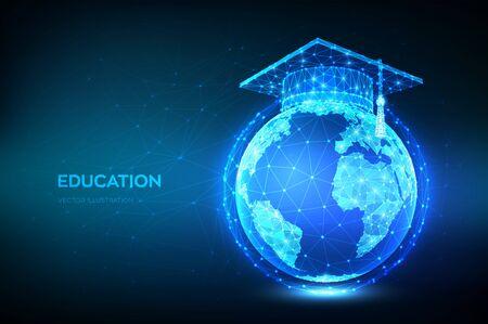 E-learning concept. Innovative online education. Abstract Low Polygonal Graduation cap on planet Earth globe model map. Distance graduate certificate program. Skill development. Vector illustration