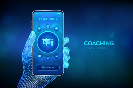 Coaching and mentoring concept on virtual screen. Personal development. Education and e-learning. Webinar, online training courses. Closeup smartphone in wireframe hand. Vector illustration