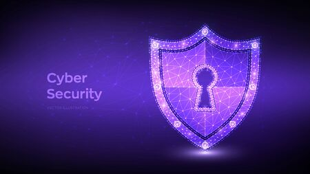 Security shield. Cyber security. Shield With Keyhole icon. Protect and Security of Safe concept. Illustrates cyber data security or information privacy idea. Low polygonal vector Illustration