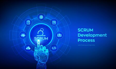 SCRUM. Agile development methodology process. Iterative sprint methodology. Programming and application design technology concept. Robotic hand touching digital interface. Vector illustration Ilustrace