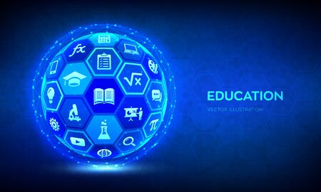 E-learning. Innovative online education technology concept. Webinar, teaching, online training courses. Skill development. Abstract 3D sphere or globe with surface of hexagons with icons. Vector