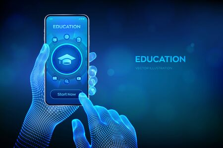 Education. Innovative online e-learning and internet technology concept. Webinar, knowledge, online training courses. Skill development. Closeup smartphone in wireframe hands. Vector illustration Illustration
