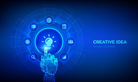 New idea. Creative Idea lamp icon. Creativity, innovation and inspiration modern technology and business concept on virtual screen. Robotic hand touching digital interface. Vector illustration