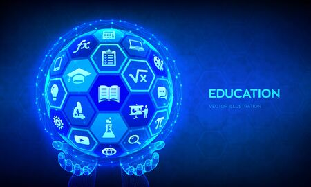 E-learning. Innovative online education technology concept. Webinar, teaching, online training courses. Skill development. Abstract 3D sphere with surface of hexagons with icons in hands. Vector