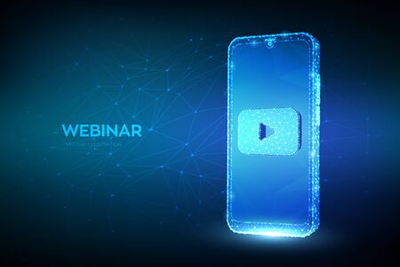 Webinar. Abstract low polygonal smartphone with webinar icon. Internet conference. Web based seminar. Distance Learning. E-learning Training business technology symbol. Vector illustration 向量圖像